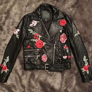Belle Vere Black Leather Moto Jacket Size x-Small